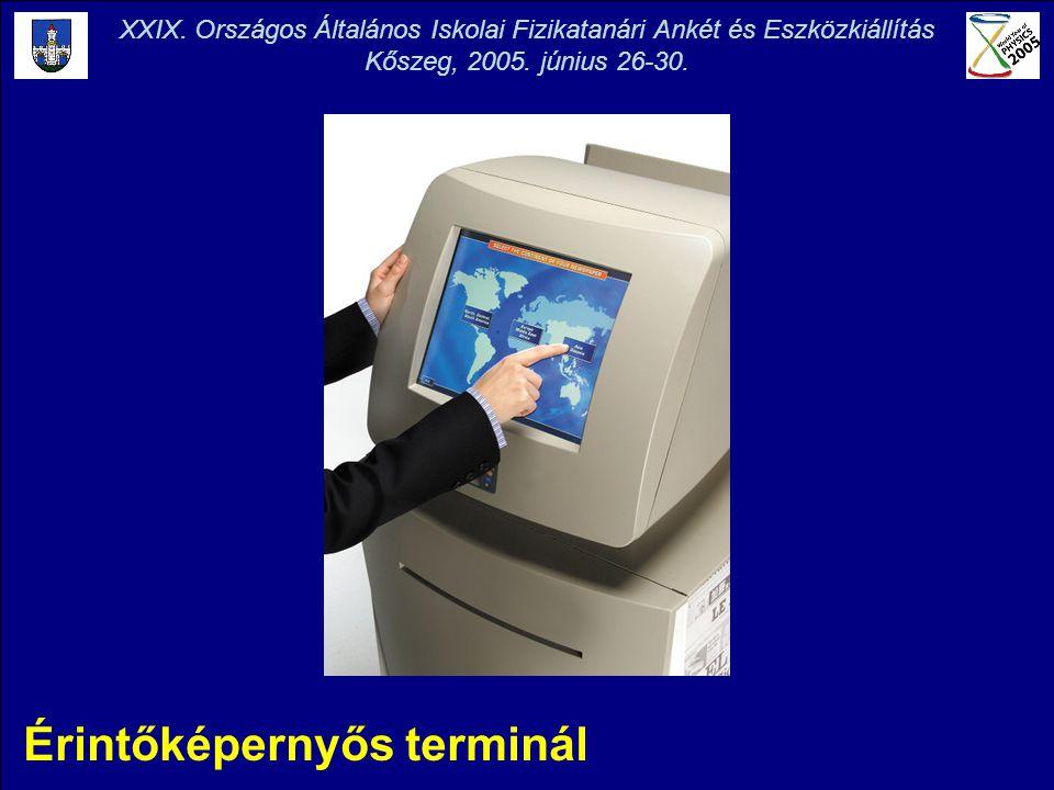 Érintőképernyős terminál XXIX. Országos Általános Iskolai Fizikatanári Ankét és Eszközkiállítás Kőszeg, 2005. június 26-30.
