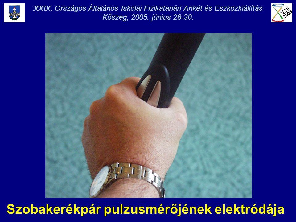 Szobakerékpár pulzusmérőjének elektródája XXIX. Országos Általános Iskolai Fizikatanári Ankét és Eszközkiállítás Kőszeg, 2005. június 26-30.