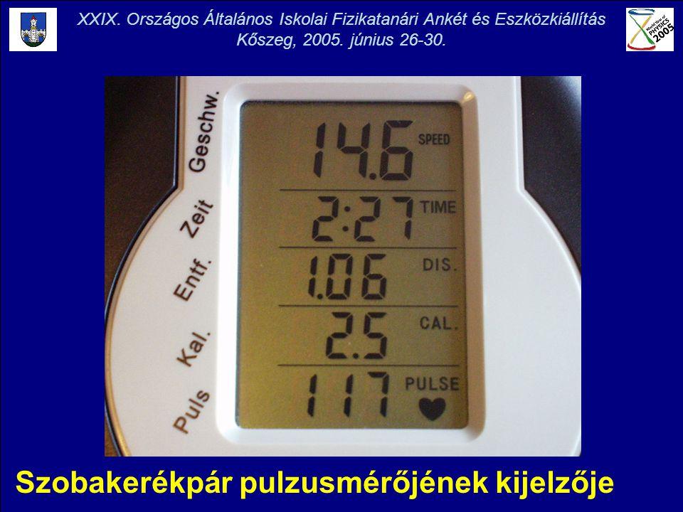 Szobakerékpár pulzusmérőjének kijelzője XXIX. Országos Általános Iskolai Fizikatanári Ankét és Eszközkiállítás Kőszeg, 2005. június 26-30.