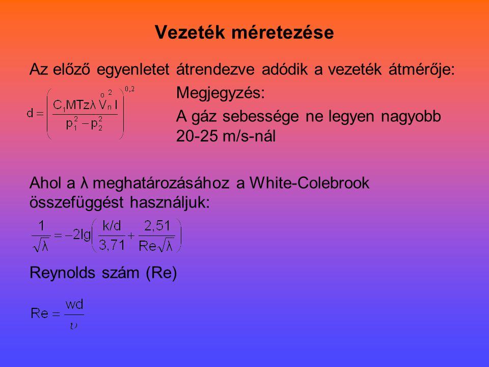 Vezeték méretezése Az előző egyenletet átrendezve adódik a vezeték átmérője: Megjegyzés: A gáz sebessége ne legyen nagyobb 20-25 m/s-nál Ahol a λ megh