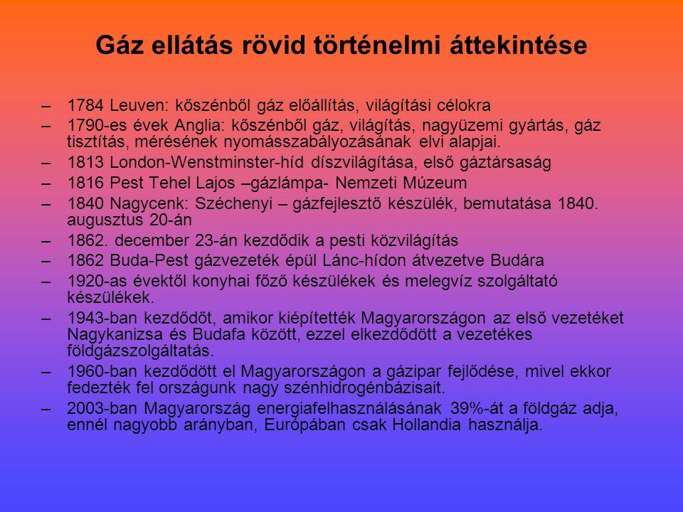 Gáz ellátás rövid történelmi áttekintése –1784 Leuven: kőszénből gáz előállítás, világítási célokra –1790-es évek Anglia: kőszénből gáz, világítás, na
