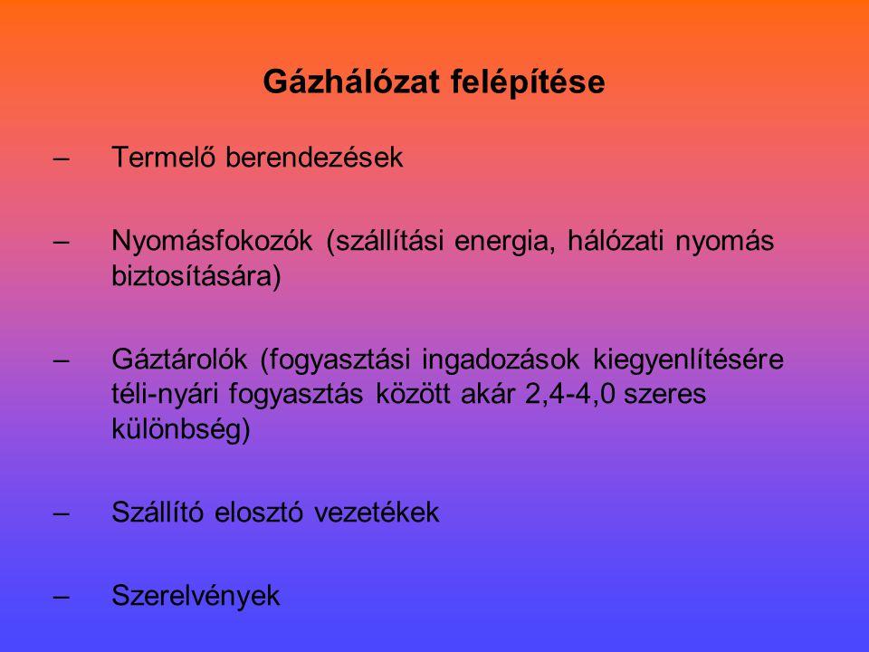 Gázhálózat felépítése –Termelő berendezések –Nyomásfokozók (szállítási energia, hálózati nyomás biztosítására) –Gáztárolók (fogyasztási ingadozások ki