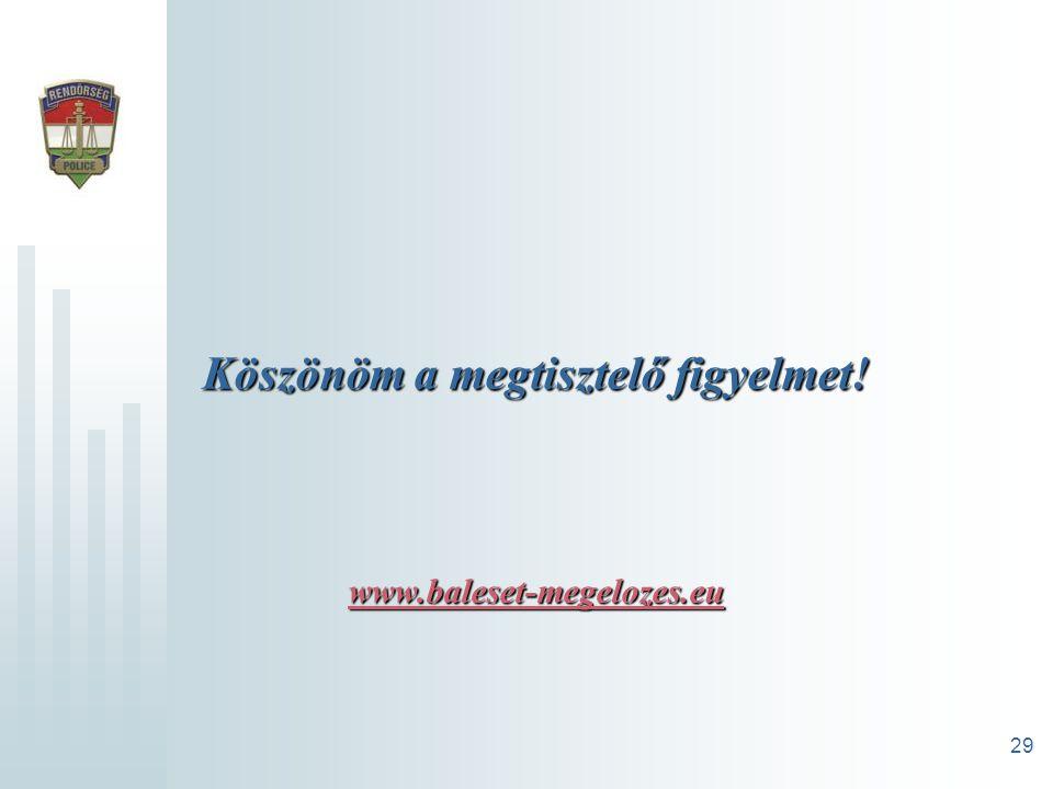 29 Köszönöm a megtisztelő figyelmet! www.baleset-megelozes.eu www.baleset-megelozes.eu