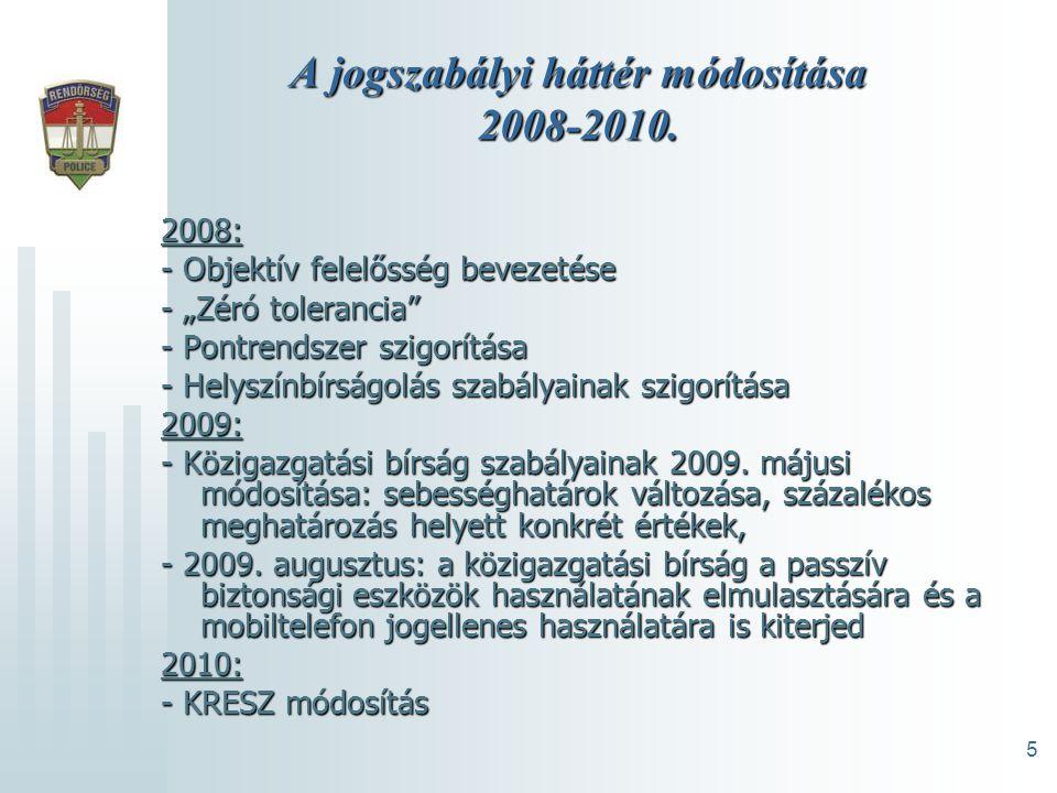 5 A jogszabályi háttér módosítása 2008-2010.