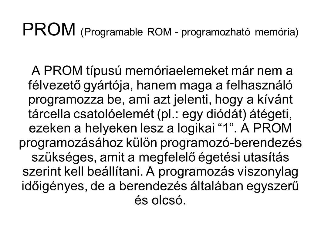 Ha a ROM-okat gyártás során programozzák, akkor nem nyílik lehetőség arra, hogy változtassunk a tárolt adatokon, programokon.