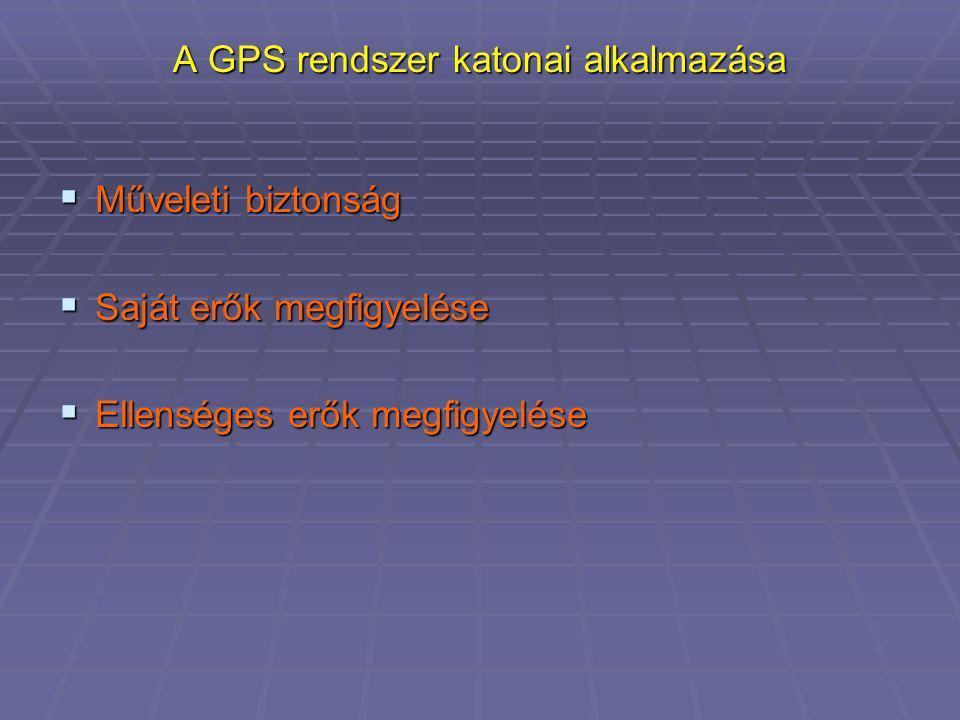 A GPS rendszer katonai alkalmazása  Műveleti biztonság  Saját erők megfigyelése  Ellenséges erők megfigyelése