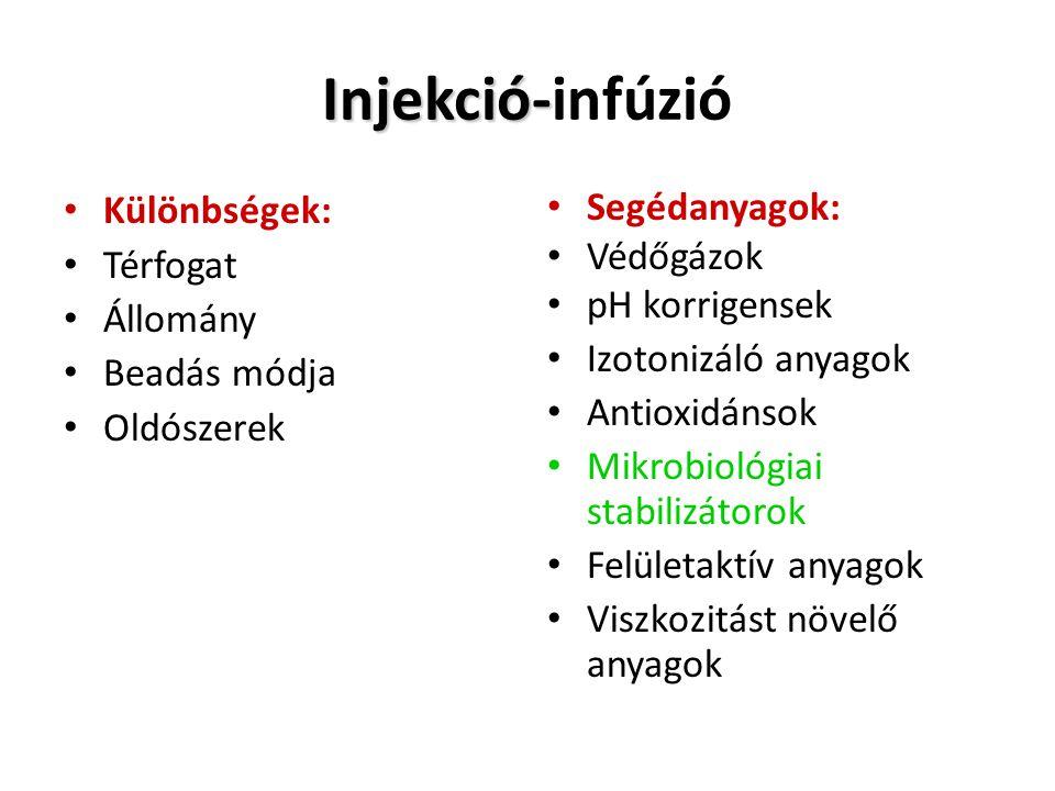 Injekció- Injekció-infúzió • Különbségek: • Térfogat • Állomány • Beadás módja • Oldószerek • Segédanyagok: • Védőgázok • pH korrigensek • Izotonizáló anyagok • Antioxidánsok • Mikrobiológiai stabilizátorok • Felületaktív anyagok • Viszkozitást növelő anyagok