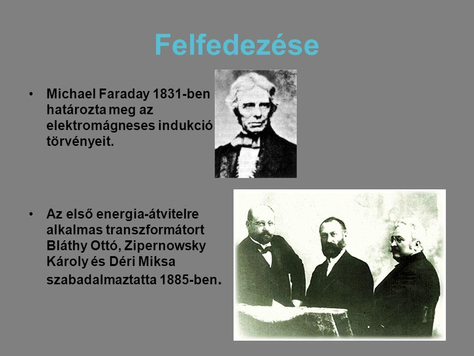 Felfedezése •Michael Faraday 1831-ben határozta meg az elektromágneses indukció törvényeit. •Az első energia-átvitelre alkalmas transzformátort Bláthy