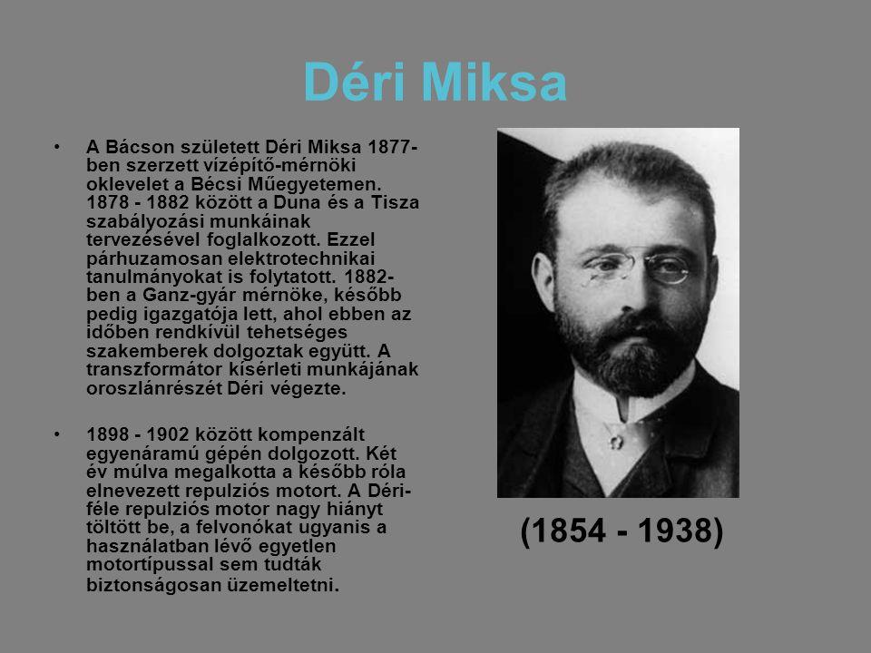 Déri Miksa •A Bácson született Déri Miksa 1877- ben szerzett vízépítő-mérnöki oklevelet a Bécsi Műegyetemen. 1878 - 1882 között a Duna és a Tisza szab