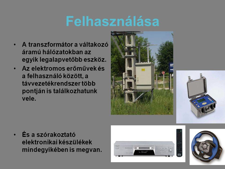 Felhasználása •A transzformátor a váltakozó áramú hálózatokban az egyik legalapvetőbb eszköz. •Az elektromos erőművek és a felhasználó között, a távve