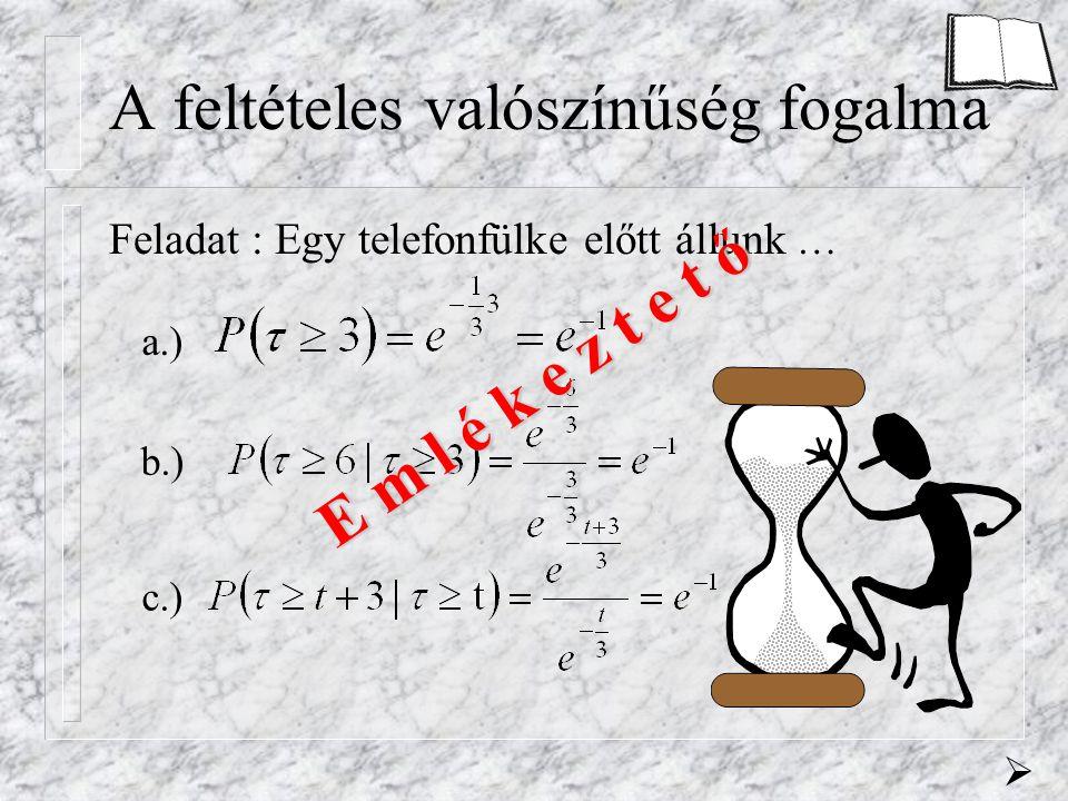 A feltételes valószínűség fogalma Feladat : Egy telefonfülke előtt állunk … a.) b.) c.)  E m l é k e z t e t ő