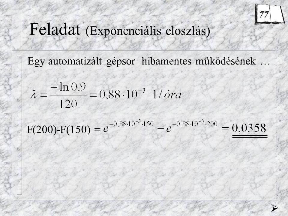 Feladat (Exponenciális eloszlás) Egy automatizált gépsor hibamentes működésének … F(200)-F(150) =  77