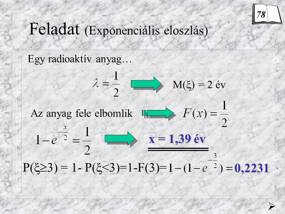 Feladat (Exponenciális eloszlás) Egy radioaktív anyag… M(  ) = 2 év  Az anyag fele elbomlik x = 1,39 év P(  3) = 1- P(  <3)=1-F(3)= 0,2231 78