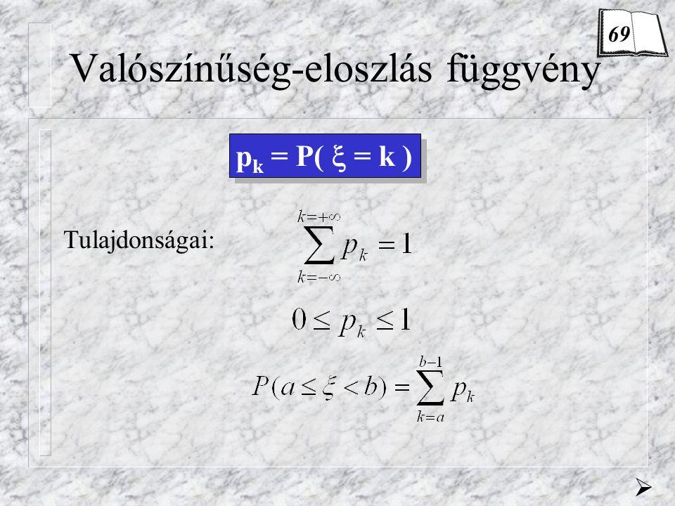 Valószínűség-eloszlás függvény p k = P(  = k ) Tulajdonságai:  69