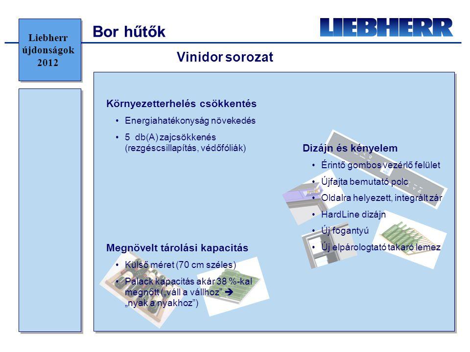 """Bor hűtők Környezetterhelés csökkentés •Energiahatékonyság növekedés •5 db(A) zajcsökkenés (rezgéscsillapítás, védőfóliák) Vinidor sorozat Megnövelt tárolási kapacitás •Külső méret (70 cm széles) •Palack kapacitás akár 38 %-kal megnőtt (""""váll a vállhoz  """"nyak a nyakhoz ) Dizájn és kényelem •Érintő gombos vezérlő felület •Újfajta bemutató polc •Oldalra helyezett, integrált zár •HardLine dizájn •Új fogantyú •Új elpárologtató takaró lemez Liebherr újdonságok 2012"""