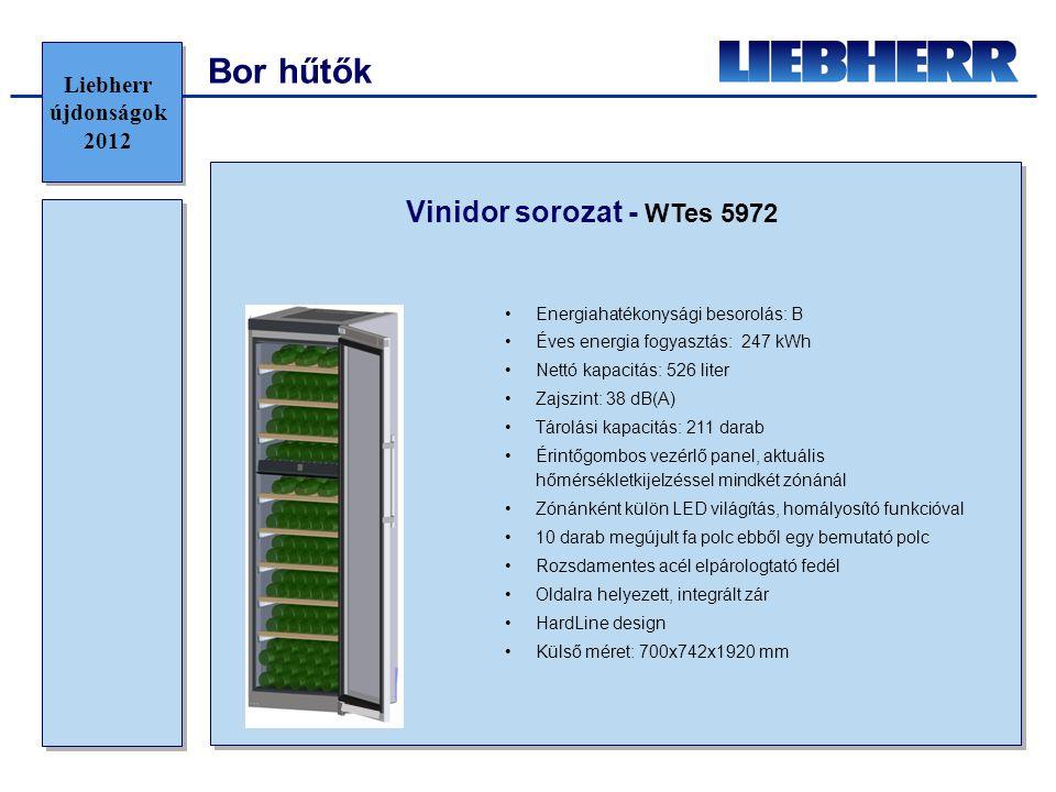 Bor hűtők Vinidor sorozat - WTes 5972 •Energiahatékonysági besorolás: B •Éves energia fogyasztás: 247 kWh •Nettó kapacitás: 526 liter •Zajszint: 38 dB(A) •Tárolási kapacitás: 211 darab •Érintőgombos vezérlő panel, aktuális hőmérsékletkijelzéssel mindkét zónánál •Zónánként külön LED világítás, homályosító funkcióval •10 darab megújult fa polc ebből egy bemutató polc •Rozsdamentes acél elpárologtató fedél •Oldalra helyezett, integrált zár •HardLine design •Külső méret: 700x742x1920 mm Liebherr újdonságok 2012