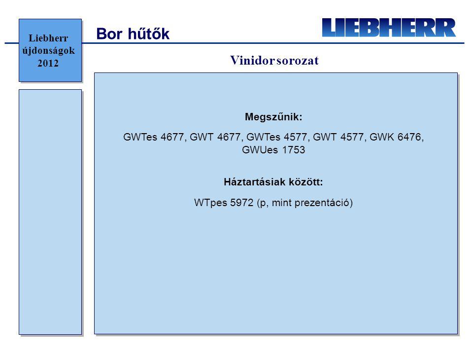 Bor hűtők Megszűnik: GWTes 4677, GWT 4677, GWTes 4577, GWT 4577, GWK 6476, GWUes 1753 Háztartásiak között: WTpes 5972 (p, mint prezentáció) Liebherr újdonságok 2012 Vinidor sorozat