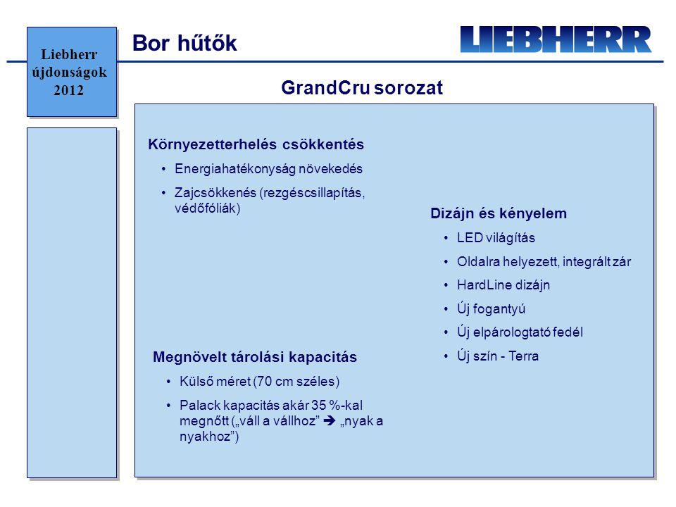 """Bor hűtők Környezetterhelés csökkentés •Energiahatékonyság növekedés •Zajcsökkenés (rezgéscsillapítás, védőfóliák) GrandCru sorozat Megnövelt tárolási kapacitás •Külső méret (70 cm széles) •Palack kapacitás akár 35 %-kal megnőtt (""""váll a vállhoz  """"nyak a nyakhoz ) Dizájn és kényelem •LED világítás •Oldalra helyezett, integrált zár •HardLine dizájn •Új fogantyú •Új elpárologtató fedél •Új szín - Terra Liebherr újdonságok 2012"""