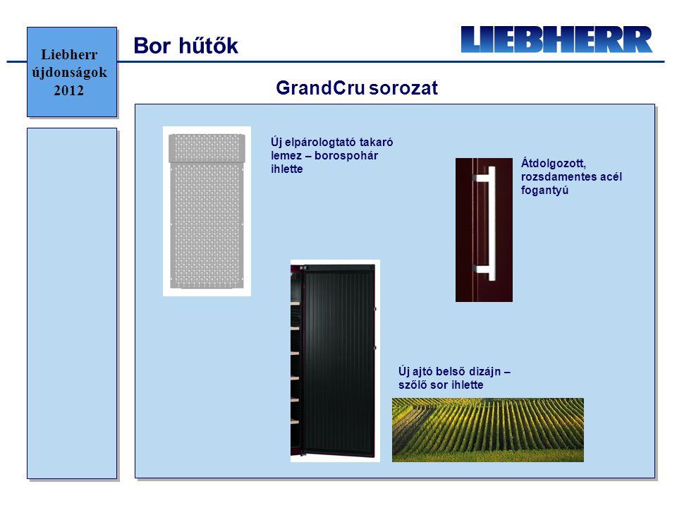 Bor hűtők GrandCru sorozat Új ajtó belső dizájn – szőlő sor ihlette Új elpárologtató takaró lemez – borospohár ihlette Átdolgozott, rozsdamentes acél