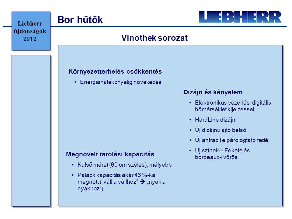 Bor hűtők Környezetterhelés csökkentés •Energiahatékonyság növekedés Vinothek sorozat Megnövelt tárolási kapacitás •Külső méret (60 cm széles), mélyeb