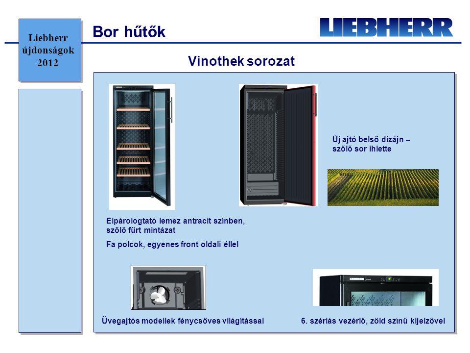 Bor hűtők Vinothek sorozat Új ajtó belső dizájn – szőlő sor ihlette Elpárologtató lemez antracit színben, szőlő fürt mintázat Fa polcok, egyenes front oldali éllel Üvegajtós modellek fénycsöves világítással 6.