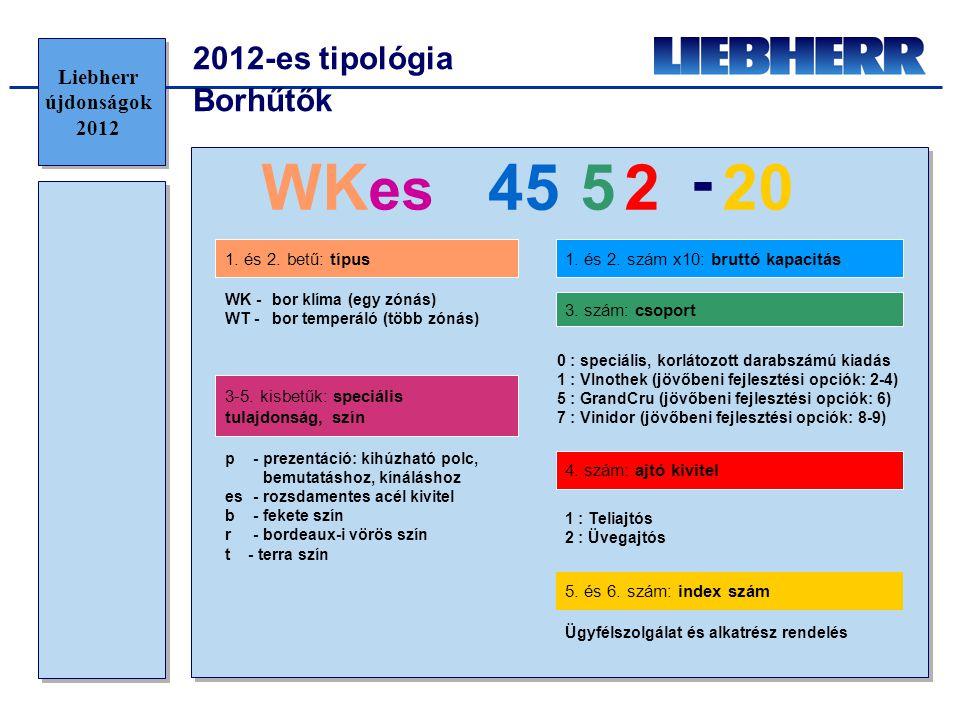 2012-es tipológia Borhűtők WK es 45 520 - 2 WK -bor klíma (egy zónás) WT -bor temperáló (több zónás) p- prezentáció: kihúzható polc, bemutatáshoz, kín