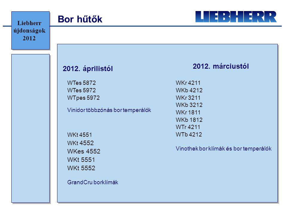 Bor hűtők Vinidor többzónás bor temperálók WTes 5872 WTes 5972 WTpes 5972 GrandCru borklímák WKt 4551 WKt 4552 WKes 4552 WKt 5551 WKt 5552 Liebherr újdonságok 2012 2012.