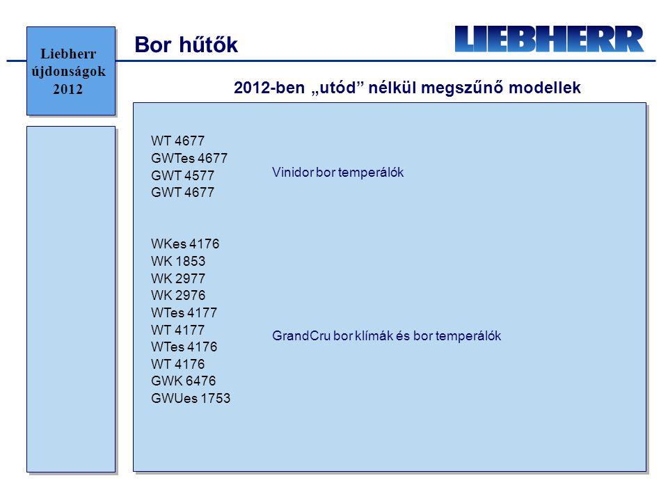 """2012-ben """"utód nélkül megszűnő modellek WT 4677 GWTes 4677 GWT 4577 GWT 4677 WKes 4176 WK 1853 WK 2977 WK 2976 WTes 4177 WT 4177 WTes 4176 WT 4176 GWK 6476 GWUes 1753 Vinidor bor temperálók GrandCru bor klímák és bor temperálók Liebherr újdonságok 2012 Bor hűtők"""