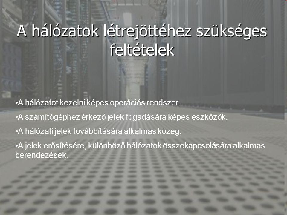 A hálózatok létrejöttéhez szükséges feltételek •A hálózatot kezelni képes operációs rendszer. •A számítógéphez érkező jelek fogadására képes eszközök.