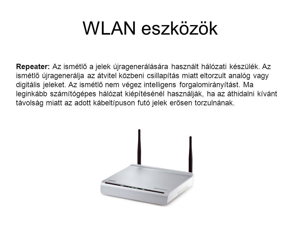 WLAN eszközök Repeater: Az ismétlő a jelek újragenerálására használt hálózati készülék. Az ismétlő újragenerálja az átvitel közbeni csillapítás miatt
