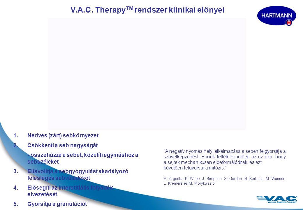 2 A V.A.C.® (Vacuum Assisted Closure, vákuumos zárás) nem-invazív, dinamikus és egyedülálló terápiás rendszer, amely elősegíti a sebgyógyulást. A terá