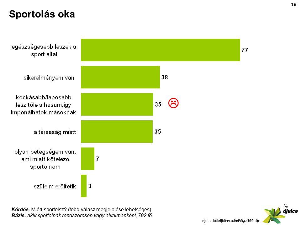 16 djuice: az első 4 hónap Sportolás oka djuice kutatási eredmények 2010.