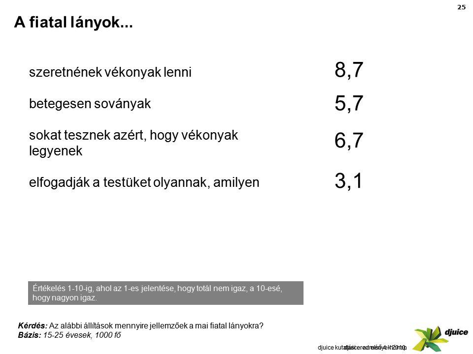 25 djuice: az első 4 hónap A fiatal lányok...djuice kutatási eredmények 2010.