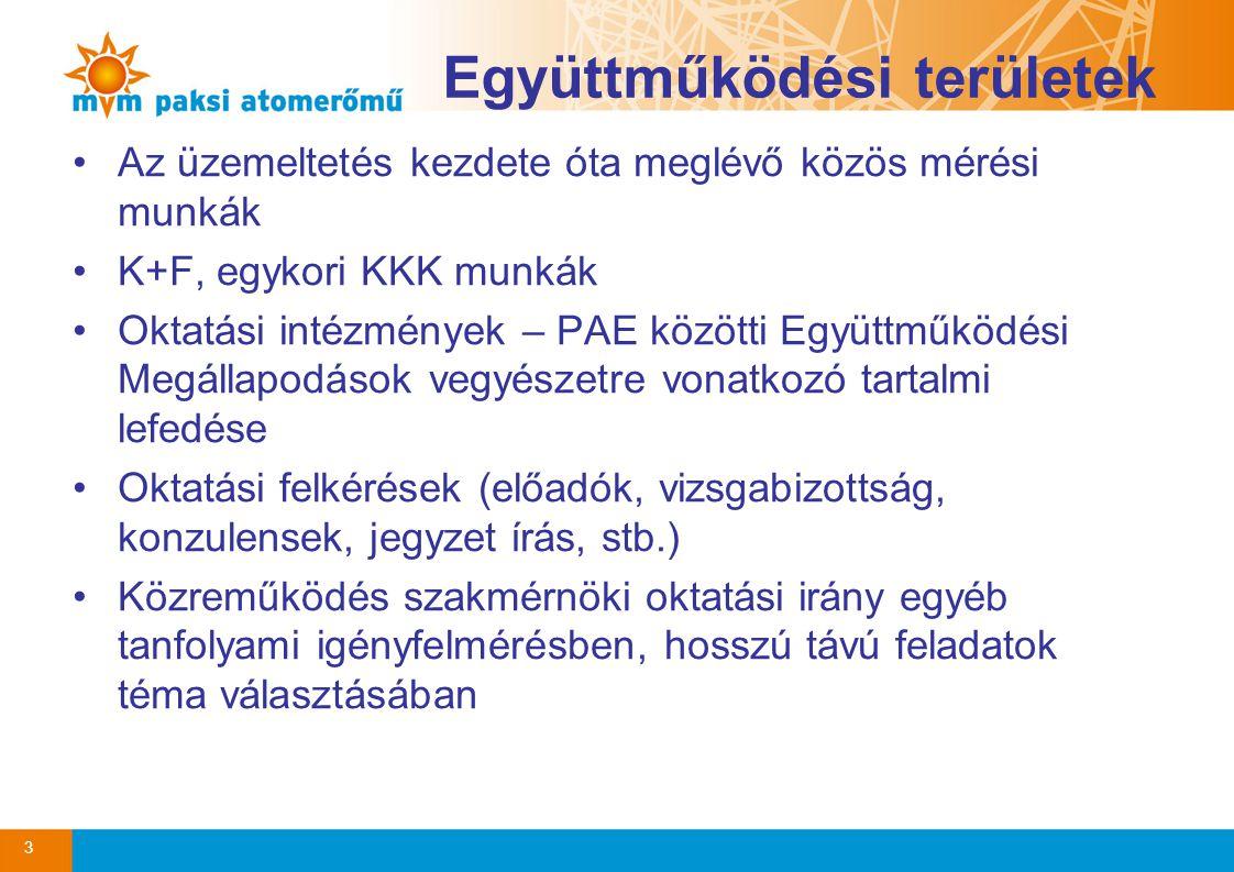 Együttműködési területek •Az üzemeltetés kezdete óta meglévő közös mérési munkák •K+F, egykori KKK munkák •Oktatási intézmények – PAE közötti Együttműködési Megállapodások vegyészetre vonatkozó tartalmi lefedése •Oktatási felkérések (előadók, vizsgabizottság, konzulensek, jegyzet írás, stb.) •Közreműködés szakmérnöki oktatási irány egyéb tanfolyami igényfelmérésben, hosszú távú feladatok téma választásában 3