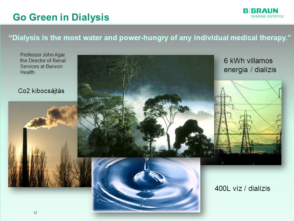 sl | Page Go Green in Dialysis 12 6 kWh villamos energia / dialízis Professor John Agar, the Director of Renal Services at Barwon Health 400L víz / dialízis Dialysis is the most water and power-hungry of any individual medical therapy. Co2 kibocsájtás