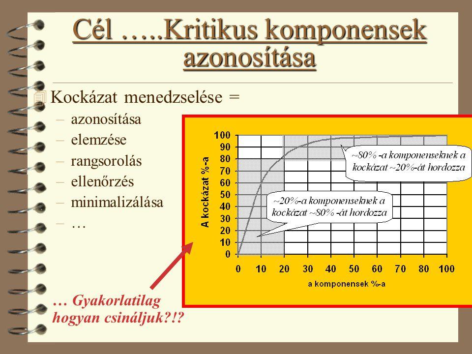 Cél …..Kritikus komponensek azonosítása 4 Kockázat menedzselése = –azonosítása –elemzése –rangsorolás –ellenőrzés –minimalizálása –… … Gyakorlatilag h