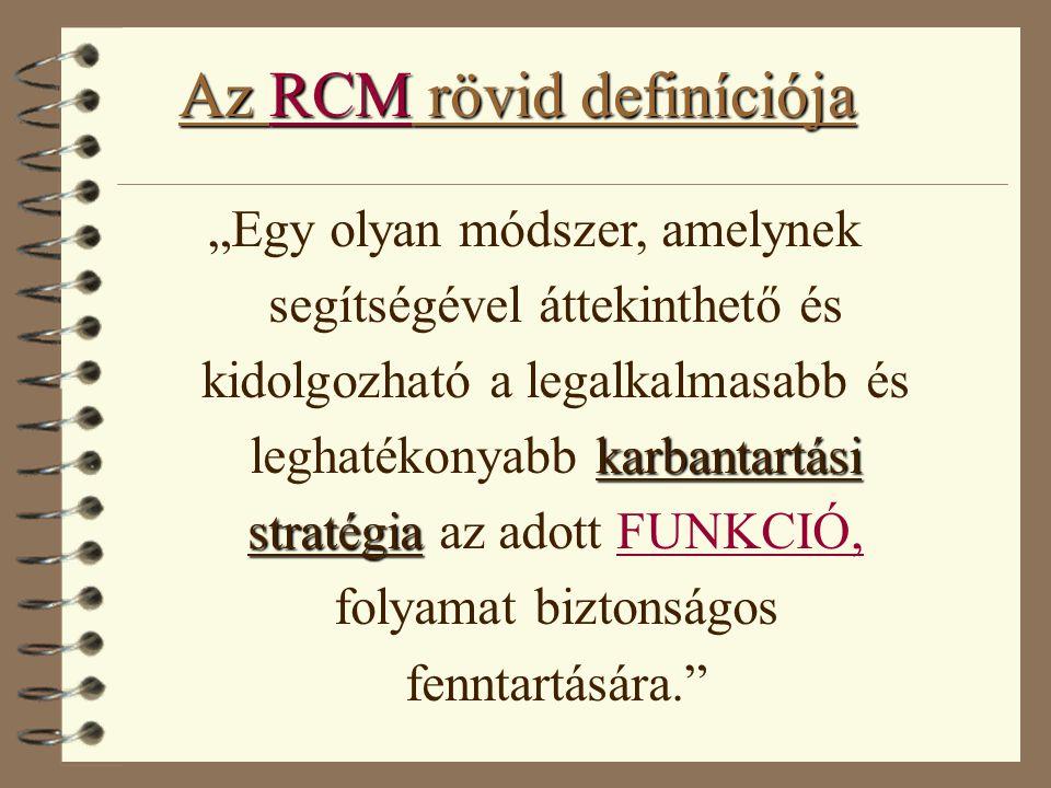 """Az RCM rövid definíciója karbantartási stratégia """"Egy olyan módszer, amelynek segítségével áttekinthető és kidolgozható a legalkalmasabb és leghatékon"""