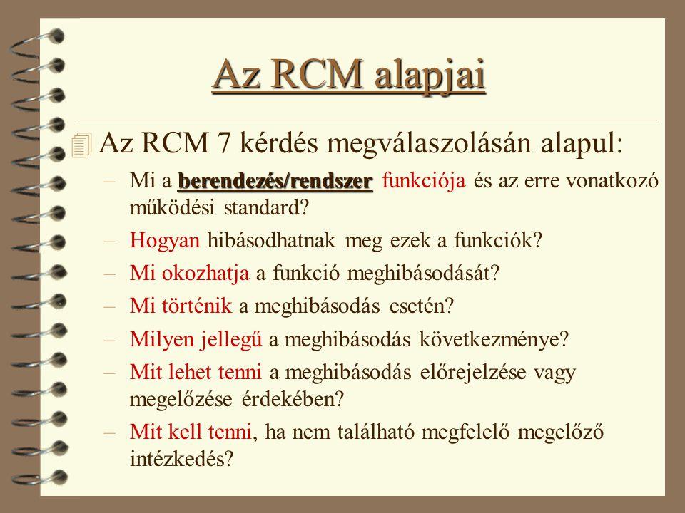 Az RCM alapjai 4 Az RCM 7 kérdés megválaszolásán alapul: berendezés/rendszer –Mi a berendezés/rendszer funkciója és az erre vonatkozó működési standar