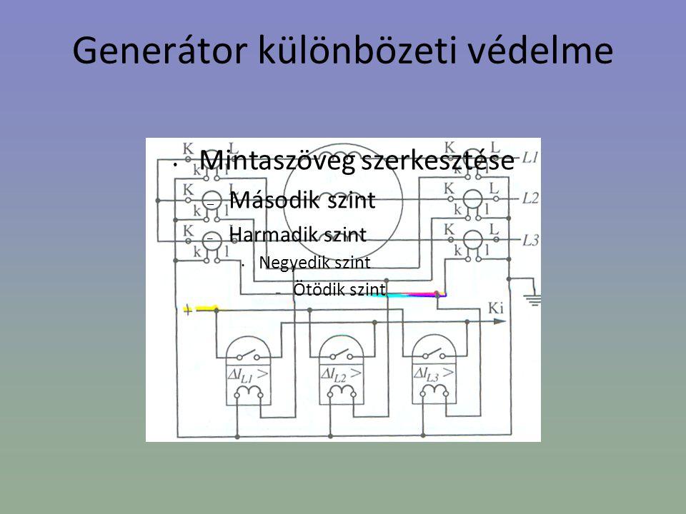 Generátor különbözeti védelme • Mintaszöveg szerkesztése – Második szint – Harmadik szint • Negyedik szint – Ötödik szint