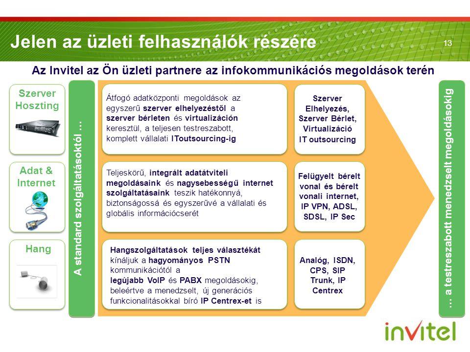 13 Jelen az üzleti felhasználók részére Az Invitel az Ön üzleti partnere az infokommunikációs megoldások terén Hang Szerver Hoszting Szerver Elhelyezé