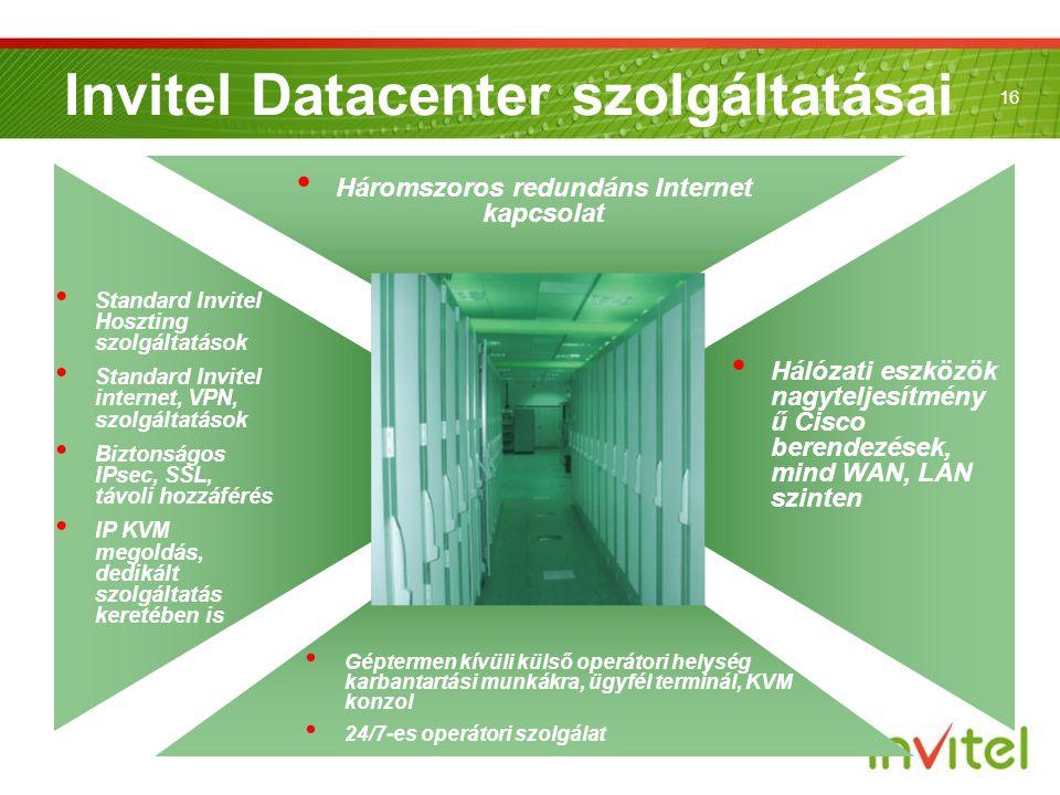 16 Invitel Datacenter szolgáltatásai • Standard Invitel Hoszting szolgáltatások • Standard Invitel internet, VPN, szolgáltatások • Biztonságos IPsec,