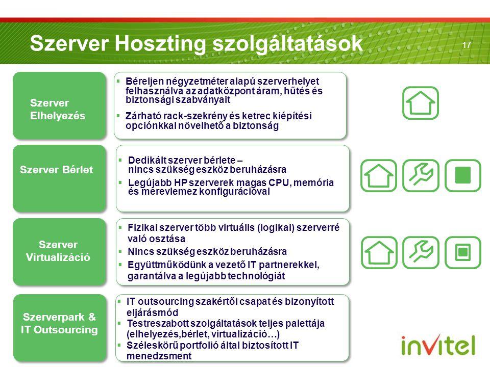 17 Szerver Bérlet Szerver Hoszting szolgáltatások Szerver Elhelyezés Szerver Virtualizáció Szerverpark & IT Outsourcing  Béreljen négyzetméter alapú