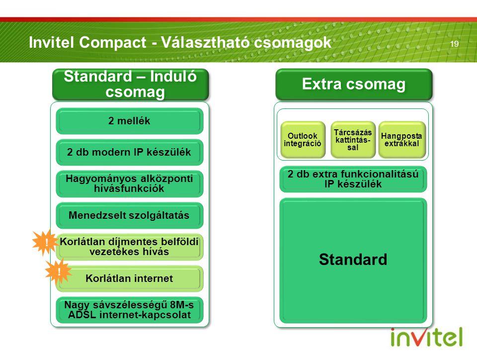 19 Standard – Induló csomag Invitel Compact - Választható csomagok Outlook integráció Nagy sávszélességű 8M-s ADSL internet-kapcsolat Korlátlan díjmen