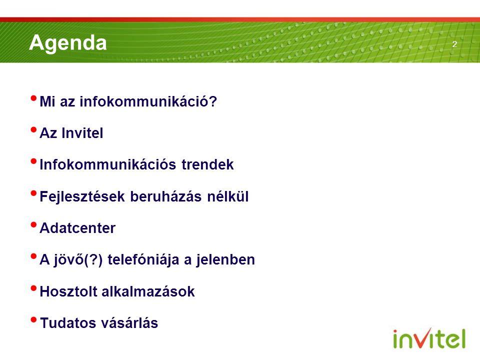 2 Agenda • Mi az infokommunikáció? • Az Invitel • Infokommunikációs trendek • Fejlesztések beruházás nélkül • Adatcenter • A jövő(?) telefóniája a jel