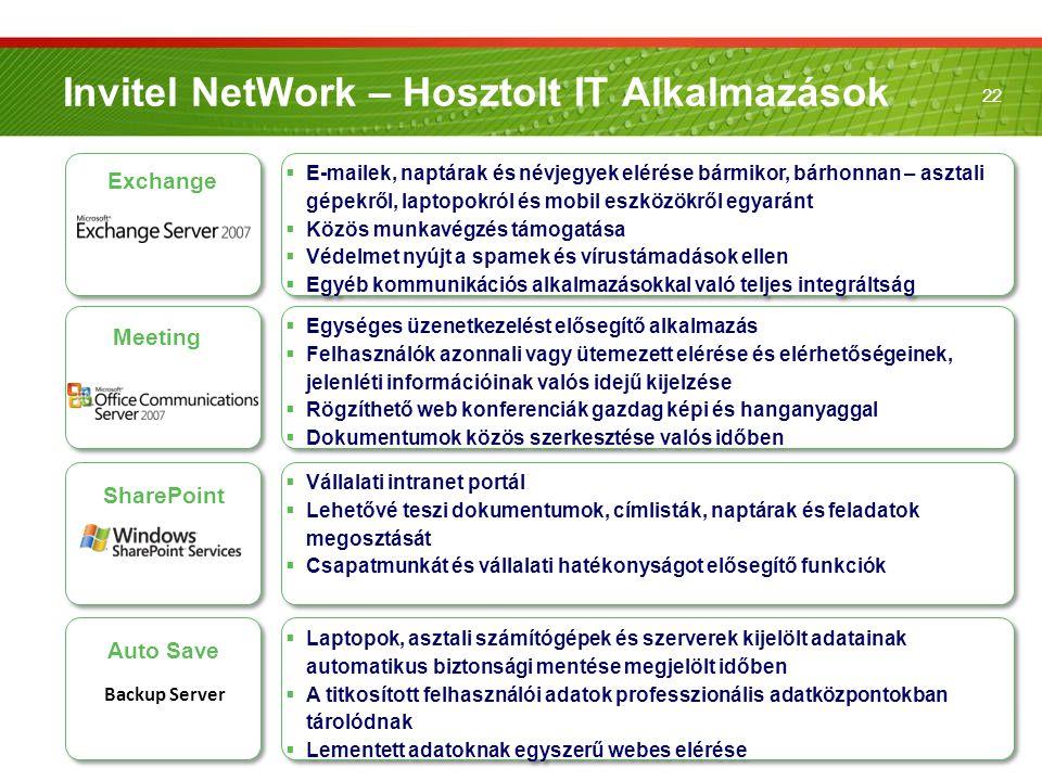 22 Invitel NetWork – Hosztolt IT Alkalmazások Exchange  E-mailek, naptárak és névjegyek elérése bármikor, bárhonnan – asztali gépekről, laptopokról é