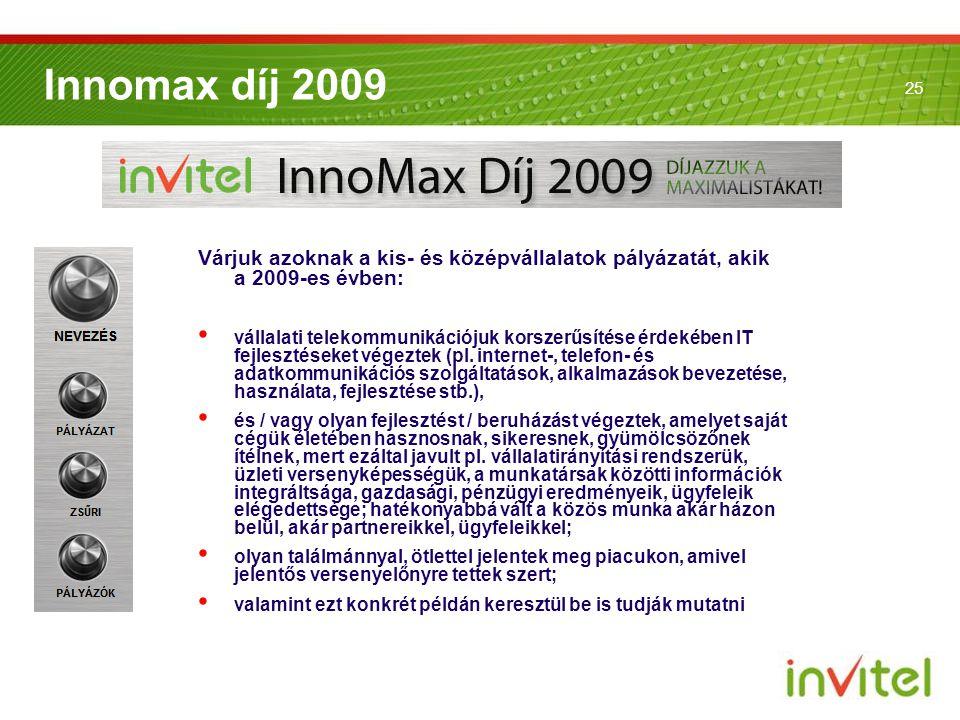 25 Innomax díj 2009 Várjuk azoknak a kis- és középvállalatok pályázatát, akik a 2009-es évben: • vállalati telekommunikációjuk korszerűsítése érdekébe