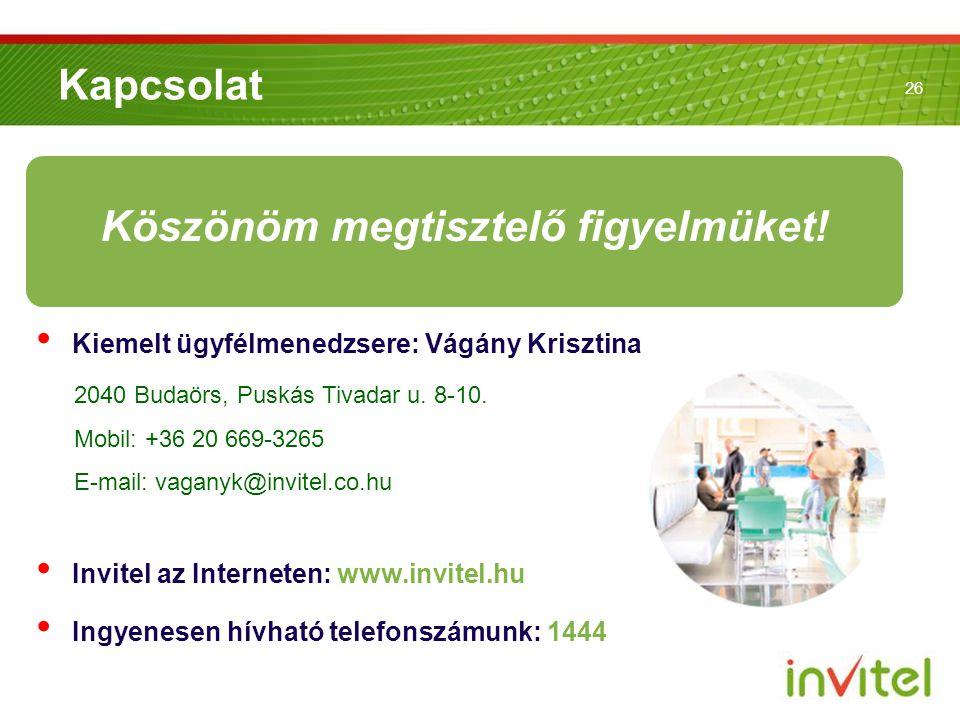 26 Kapcsolat • Kiemelt ügyfélmenedzsere: Vágány Krisztina • Invitel az Interneten: www.invitel.hu • Ingyenesen hívható telefonszámunk: 1444 2040 Budaö