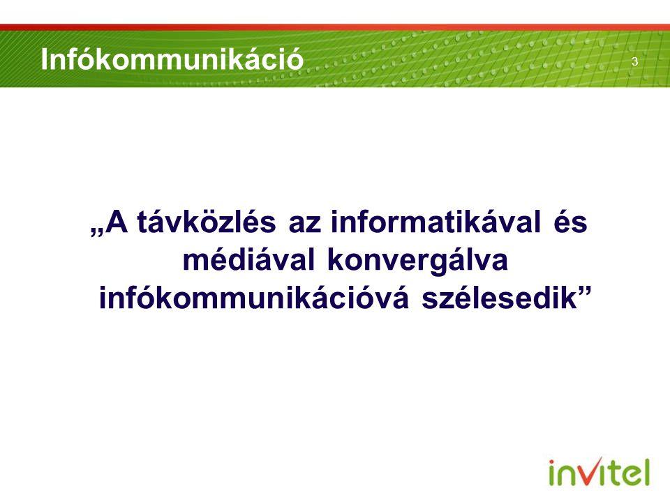 """3 Infókommunikáció """"A távközlés az informatikával és médiával konvergálva infókommunikációvá szélesedik"""""""