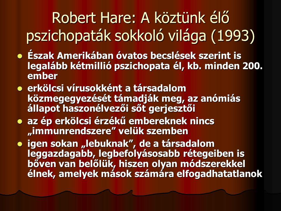 Robert Hare: A köztünk élő pszichopaták sokkoló világa (1993)  Észak Amerikában óvatos becslések szerint is legalább kétmillió pszichopata él, kb.