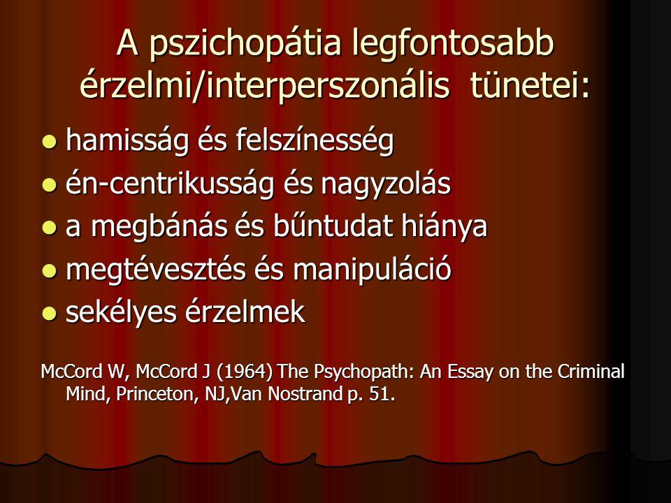 Robert Hare: A köztünk élő pszichopaták sokkoló világa (1993)  Észak Amerikában óvatos becslések szerint is legalább kétmillió pszichopata él, kb. mi